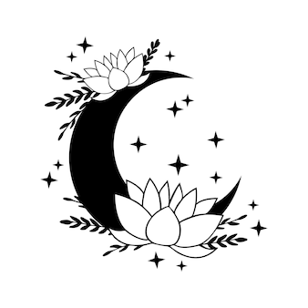 Crescent moon with lotus and stars
