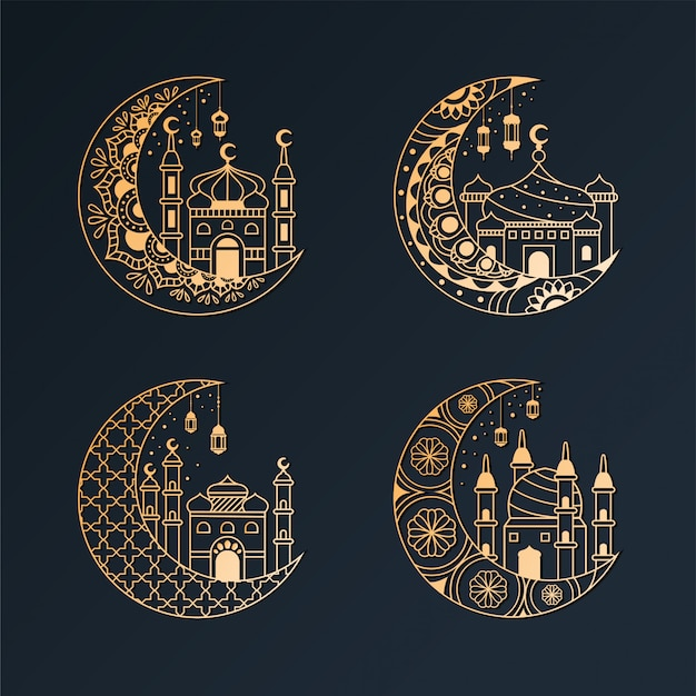 Crescent moon with mosque design