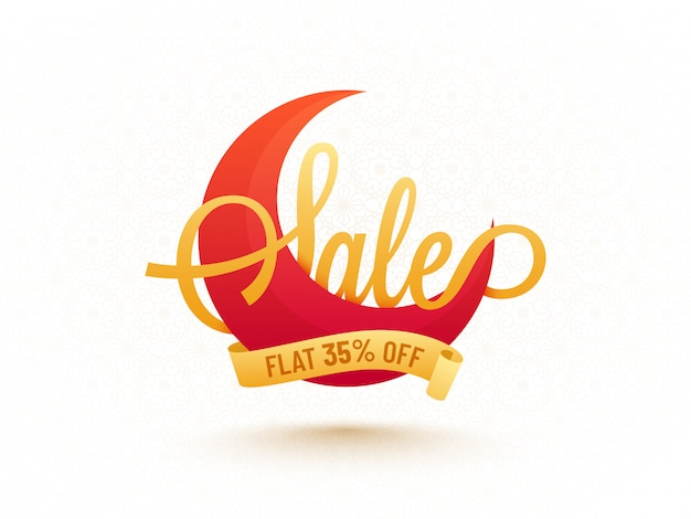 Crescent moon with text sale and 35% off offer.