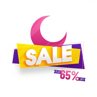 Crescent pink colour moon with text sale and 65% off offer.