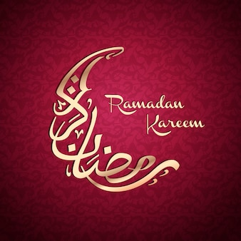 Crescent shaped arabic calligraphy  for ramadan kareem,  red background