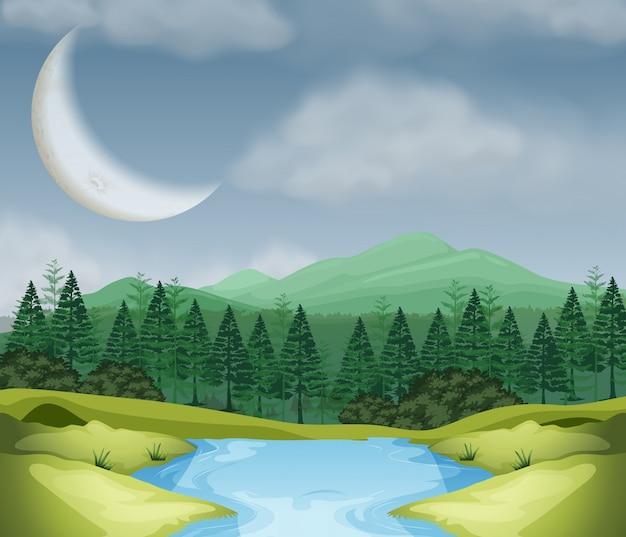 Cresent moon над лесной сценой