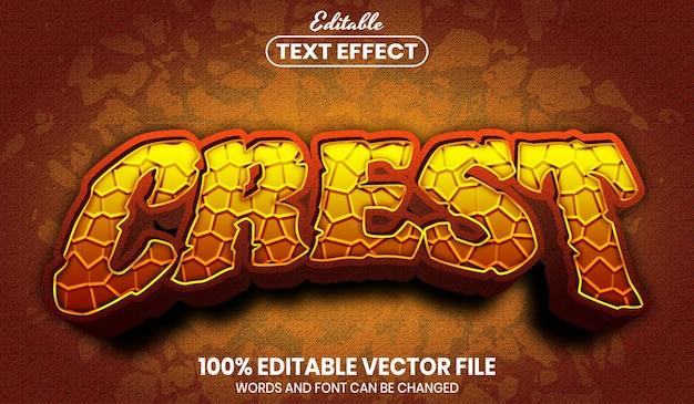Crest text, font style editable text effect