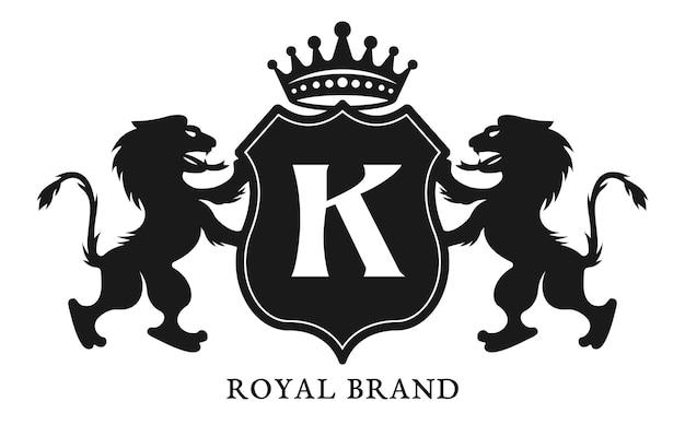 방패와 두 개의 사자 검은 상징이있는 문장