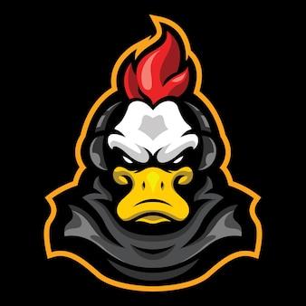 Crested duck esport logo illustration