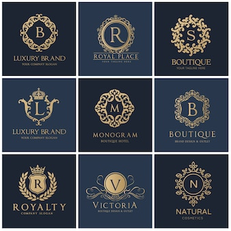 Crests logo. luxury logo set design for hotel ,real estate ,spa, fashion brand identity