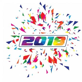 Новогодний типографский фон cretaive 2019. красочный многоугольный или низкий полистиль с confrtti