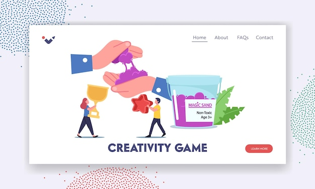 Cretivity game landing page template. tiny children characters with forms for playing with kinetic magic sand having fun, fine motor skills development, amusement. cartoon people vector illustration