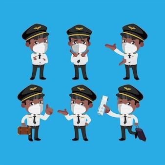 フェイスマスクを身に着けている乗組員の司令官は、さまざまなポーズでコロナウイルスcovid19を保護します