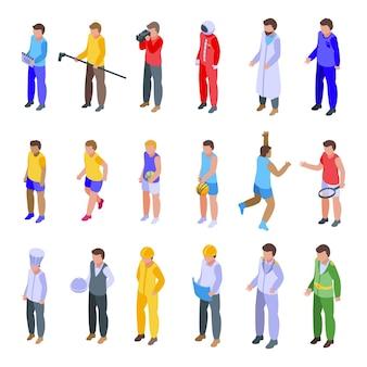 Набор иконок экипажа. изометрические набор векторных иконок экипажа для веб-дизайна, изолированные на белом фоне