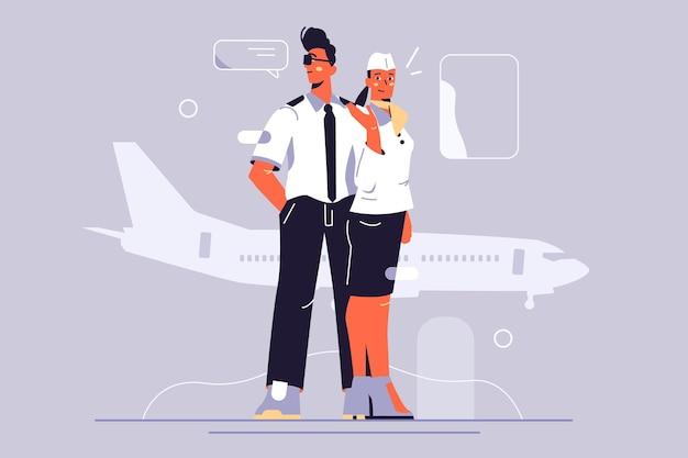 여객기 그림의 승무원. 제복을 입은 비행기의 조종사와 승무원.