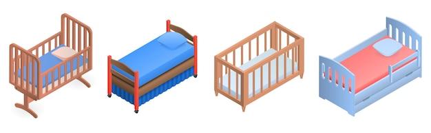 Набор иконок кроватки. изометрические набор детских кроваток векторных иконок для веб-дизайна на белом фоне