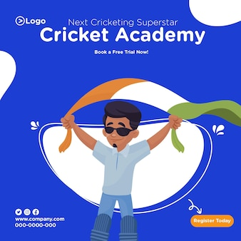 Cricket academy banner design