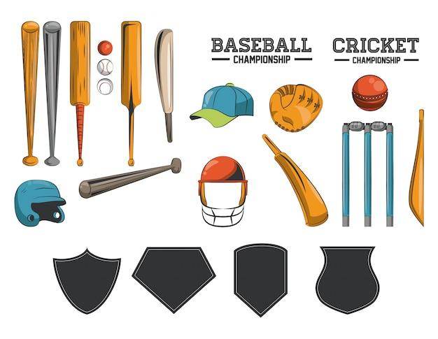 クリケットと野球用具の収集