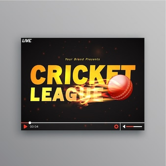 Cricket background with flaming ball