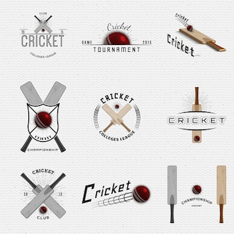Cricket badges logos and labels can be used for design