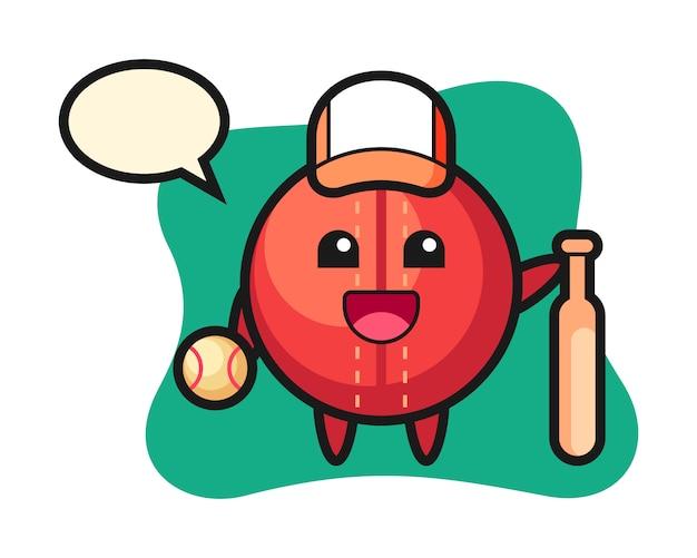 Cricket ball cartoon as a baseball player