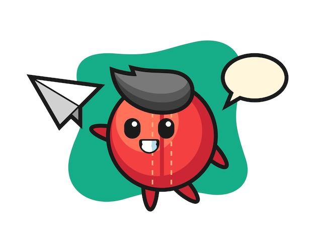 Cricket ball cartoon throwing paper airplane