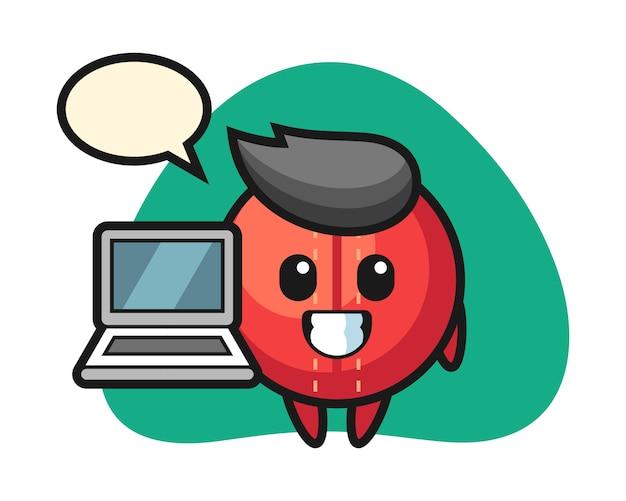 노트북으로 크리켓 공 만화