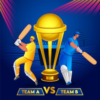 Cricket batsmen of team a and team b and golden trophy cup on blue stadium background. can be used as poster .