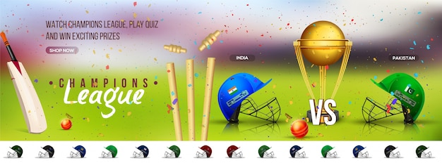 Cricket champions league social media banner design with participant countries batsman helmets and golden trophy.