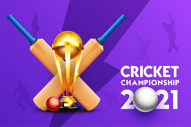 Cricket championship 2021 concept with cricket bat, ball and winning cup trophy on purple background
