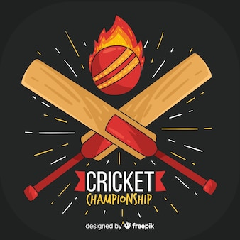 Cricket championship background with fire ball and bats