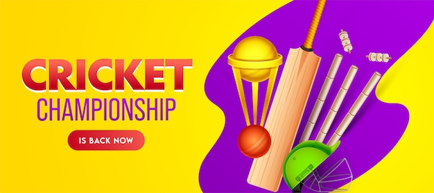 Cricket championship banner design with golden trophy cup and realistic equipments on yellow and purple background.