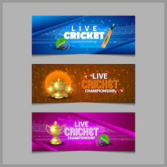 Cricket championship banner with cricket equipment with gold trophy