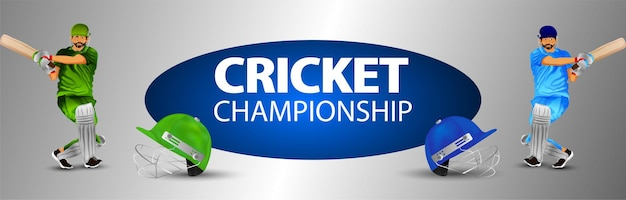 Cricket championship banner with illustration of cricketer