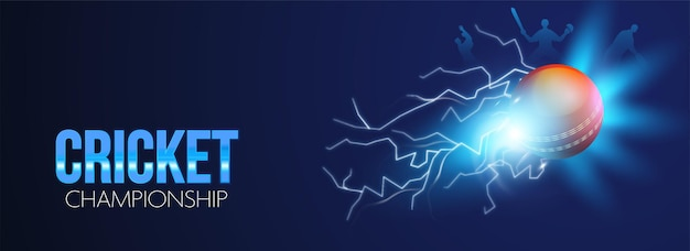Cricket championship concept with 3d red ball and thunder effect on blue background.