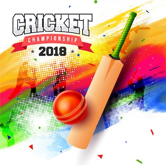 Cricket championship concept with bat and ball on colorful grungy background.