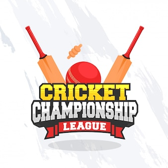 Cricket championship concept with bat, ball and wicket on grungy white background.