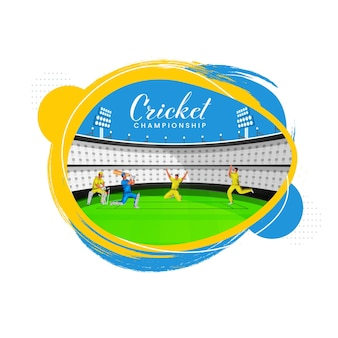 Cricket championship concept with cricketer players in action pose and yellow and blue brush stadium view on white background.