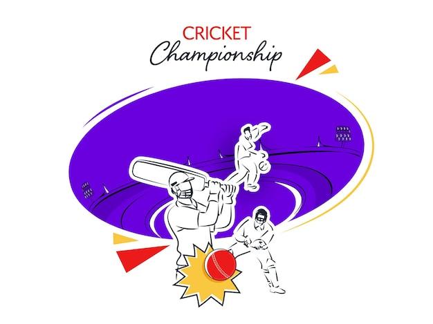 紫と白のスタジアムの背景に異なるポーズで落書きスタイルのクリケット選手とクリケット選手権のコンセプト。