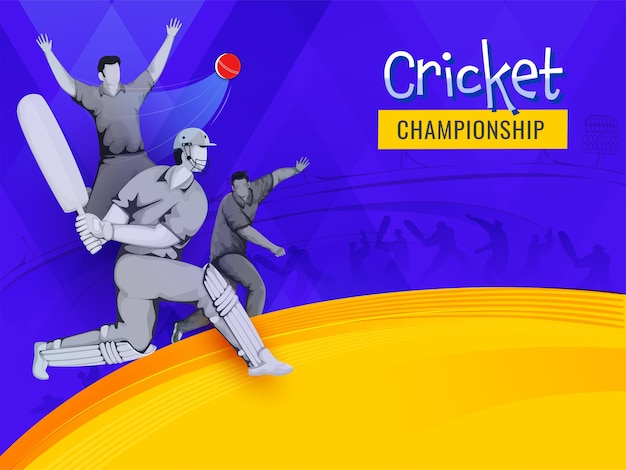 Cricket championship concept with faceless batsman, bowler players on blue and yellow background.