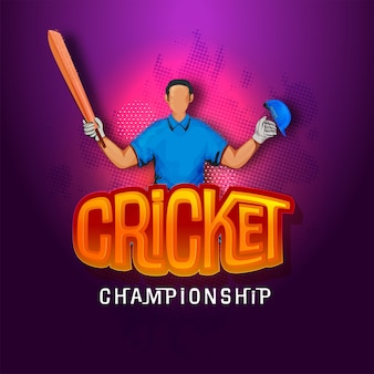 Cricket championship concept with faceless batsman player in winning pose on purple halftone background.