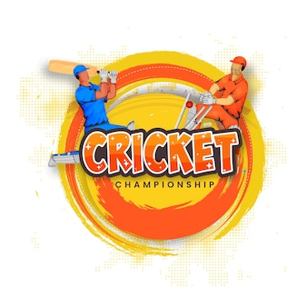 Cricket championship concept with faceless batsman, wicket keeper hit ball to stumps and brush halftone effect on white background.