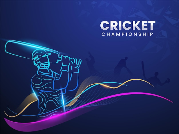 Cricket championship concept with linear style batsman player, light effect and abstract waves on blue triangle element background.