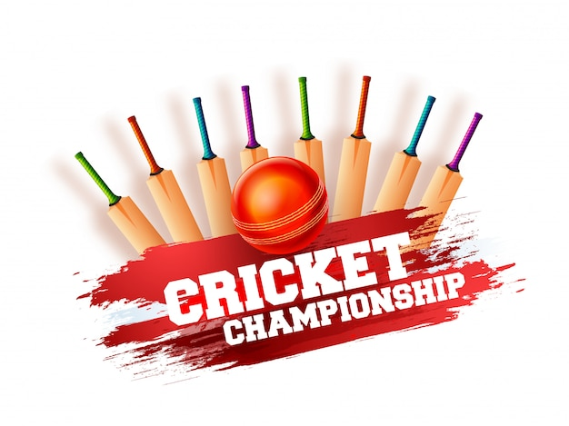Cricket championship concept with mutliple bats, ball on grungy orange background.