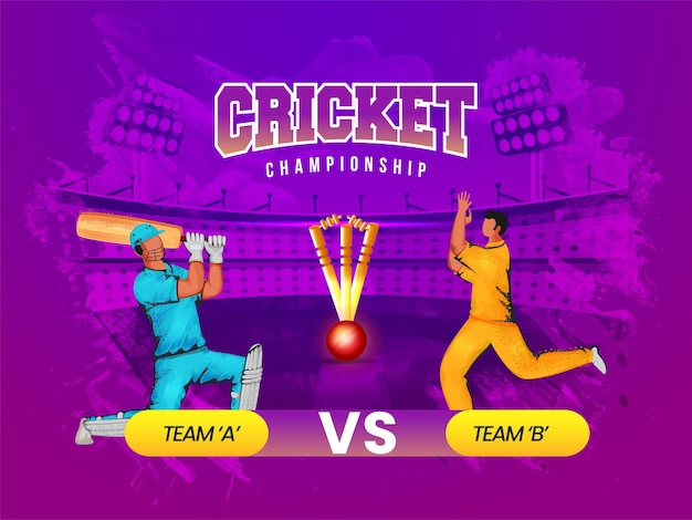 Cricket championship concept with participating team a vs b of batsman and bowler player on purple grunge stadium background.