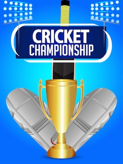 Cricket championship flyerwith cricket equipment