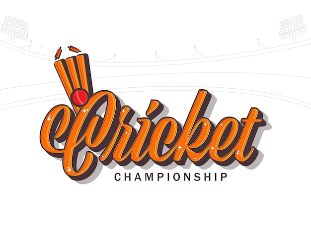 Cricket championship font with ball hits wicket stumps on white stadium background.