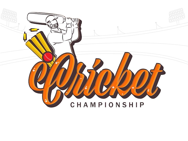 Cricket championship font with sticker style batsman player and ball hits wicket stumps on white stadium background.