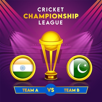 Cricket championship league concept with golden winning trophy cup and participating countries flag of india vs pakistan in circle frame.