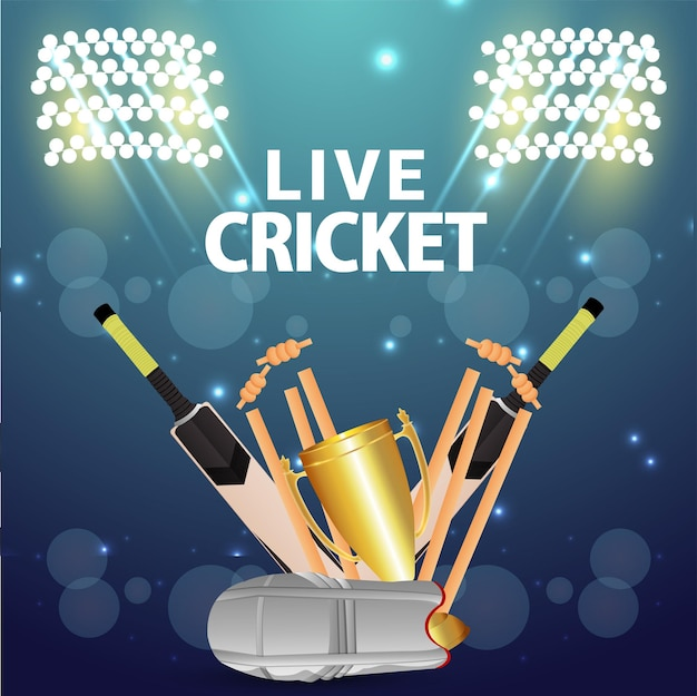 Cricket championship match with cricket equipment