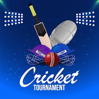 Cricket championship match with stadium background