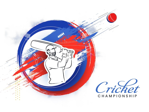 Cricket championship poster design with sticker style batsman hitting ball and brush stroke effect on white halftone background.