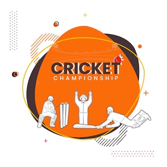 Cricket championship poster design with sticker style umpire signaling six run, batsman and wicket keeper player on abstract background.