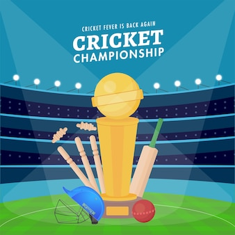 クリケット選手権ポスター、バット、ボール、ヘルメット、ウィケット、青いスタジアムの背景に優勝トロフィーカップ。